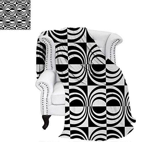 Custom Design Cozy Flannel Blanket Pattern with Abstract Squares with Inner Shapes in Contrast Colors Sixties Style Lightweight Blanket 80