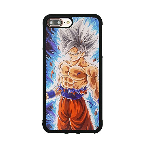 Dragon Ball Super Z Son Goku Ultra Instinct Japanese Anime Case for iPhone 7 Plus / 8 Plus (5.5 Inch) Comic TPU Silicone Rubber Gel Edge + PC Bumper Case Skin Protective Phone Full Protection Cover (Dragon Ball Z I Phone 5s Case)