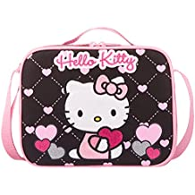 NWT Hello Kitty by Sanrio Insulated Lunch Box Bag Black Pink Heart Style!