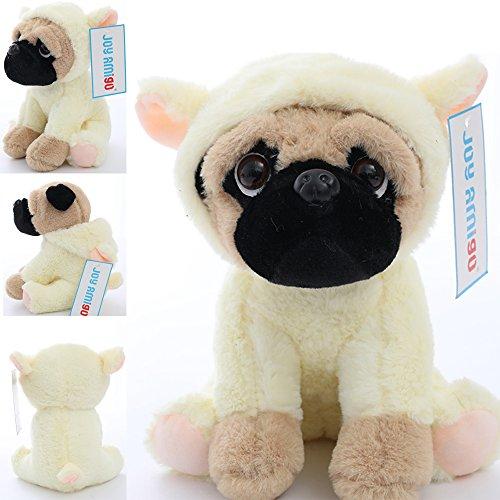Joy Amigo Stuffed Pug Dog Puppy Soft Cuddly Animal Toy in Costumes - Super Cute Quality Teddy Plush 10 Inch (Lamb)
