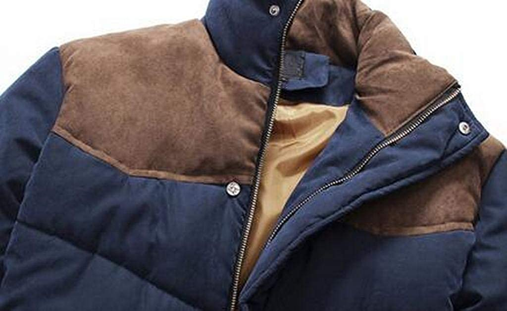 XiaoTianXinMen XTX Mens Zip Front Warm Stitching Thicker Winter Down Quilted Jacket Coat Outwear