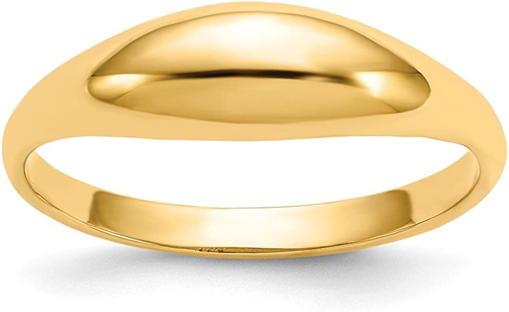 14k Childs Polished Dome Ring Size 5 Length Width 1 to 5
