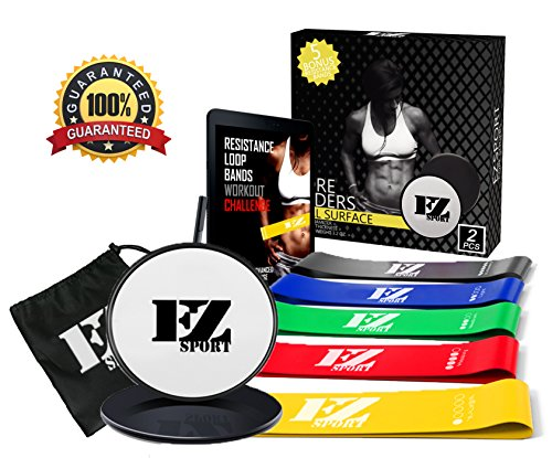 EZsport Resistance Loops Booty Bands - with Gliding Discs Core Sliders, Carry...