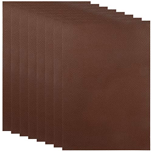 Espresso Upholstery - 8 Pieces Leather Repair Patches, First-aid for Sofas Car Seats, Handbags Jackets, 8-inch by 12-inch, Brown