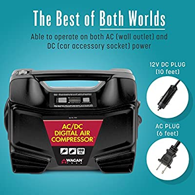 Wagan Digital Display Dual AC/DC 110V/12V Air Compressor Tire Inflator with Nozzle Adapters for Vehicle Outdoor and Home Indoor Use: Automotive