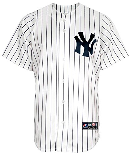 New York Yankees Wordmark White Pinstripe Youth Authentic Home Jersey (Large 14/16)
