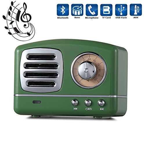 Portable Bluetooth Speaker, Soundmae Super Bass Stereo Retro Wireless 4.0 Bluetooth Speakers with Built-in Micorphone, Handfree Calling, AUX Line, USB Flash Drive and TF Card - Green