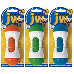 JW Pet 46118 EverTuff Squeaky Barbell Toys for Pets, Large, Assorted Colors(White with Orange, Green or Blue)