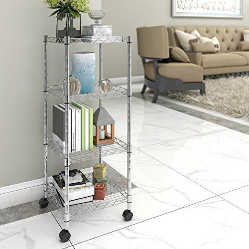 Lifewit 4 Tier Rolling Cart Wire Storage Shelf with Wheels, Adjustable Square Corner Rack for Living Room / Bathroom / Kitchen, Silver
