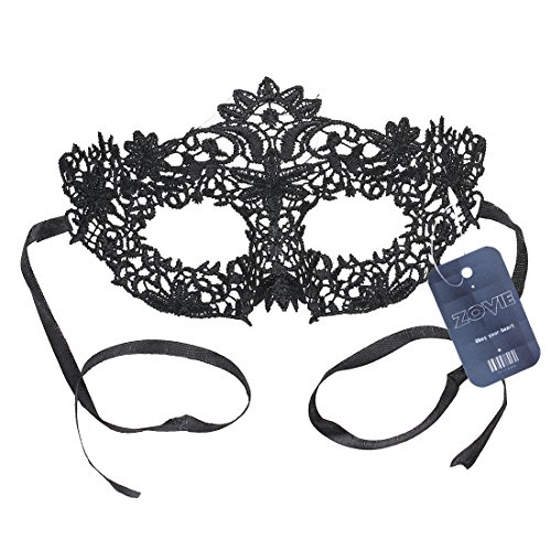 ZOVIE Black Lace Mask for Masquerade Ball Mardi Gras Fun Night Club Various Holiday Party Halloween Stage Performance