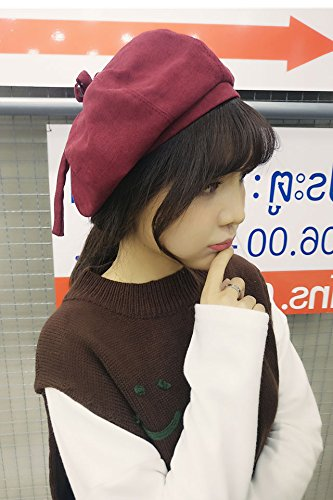 unique corduroy beret bow ribbon bud painter cap women girls autumn winter pumpkin octagonal cap tide (red wine