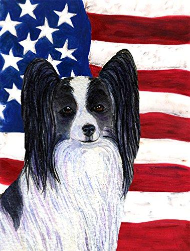 Caroline's Treasures SS4032GF USA American Flag with Papillon Flag, Small, Multicolor