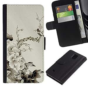 Be Good Phone Accessory // Caso del tirón Billetera de Cuero Titular de la tarjeta Carcasa Funda de Protección para Samsung Galaxy Note 4 SM-N910 // Design Japanese Flowers