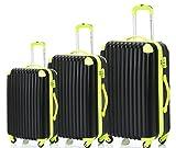 Merax Travelhouse 3 Piece Spinner Luggage Set with TSA Lock (Black & Yellowish Green)