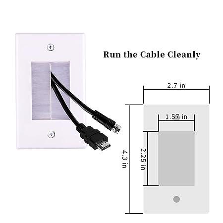 Cepillo placa de pared con alas de montaje, fácil de montar, cerdas blandas, cables de protección, enchufes de pared para cine en casa, cables HDMI y cables ...