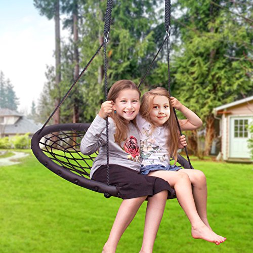 Sorbus Spinner Swing – Kids Indoor/Outdoor Round Web Swing – Great for Tree, Swing Set, Backyard, Playground, Playroom – Accessories Included (40'' Net Seat) by Sorbus (Image #3)
