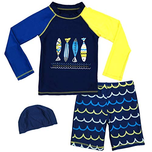 Baby Boys Two Piece Rash Guard Swimsuits Kids Long Sleeve Sunsuit Swimwear Sets with Hat (Fish, 5-6T(Height:110-122cm42.9-47.5