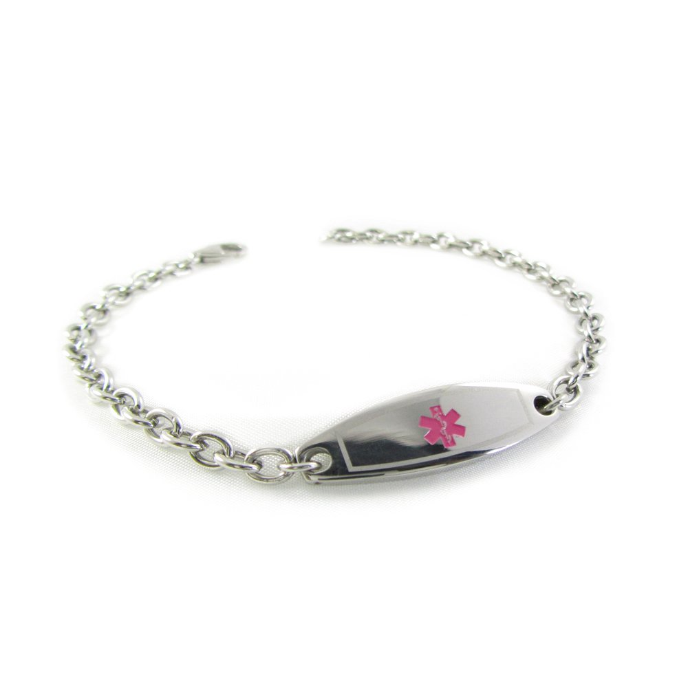 My Identity Doctor – Pre-Engraved, Customized Women s Pacemaker Medical Bracelet, Steel Mini O-Link, Wallet Card Included – Pink