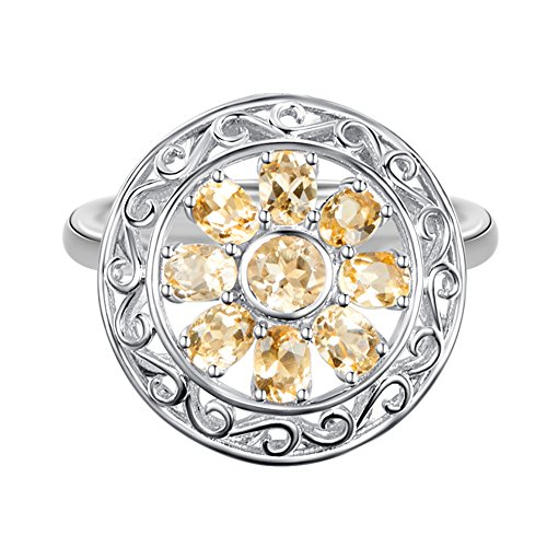 Carleen Sterling Silver 1.07 Carats Citrine Ring for Women Fashion Engagement Wedding Rings for Girls, Size 7