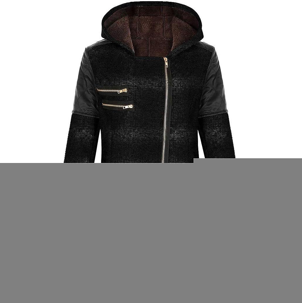 Winter Womens Casual Hooded Jacket Coat Oblique Zipper Slim Patchwork Leather Long Sweat Outwear Parka Blouse by Nevera