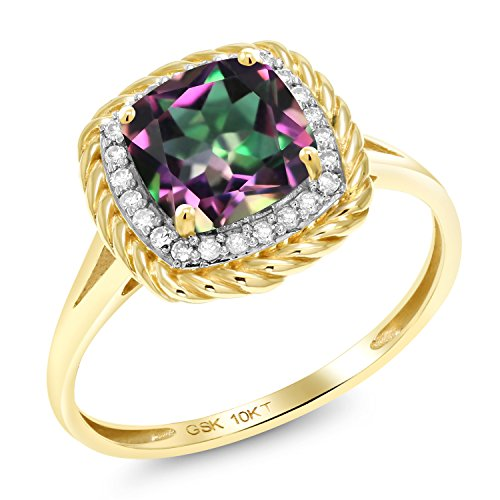 Gem Stone King 10K Yellow Gold Green Mystic Topaz and White Diamond Women's Ring (1.87 Ct Cushion Cut Available 5,6,7,8,9) (Size 7)