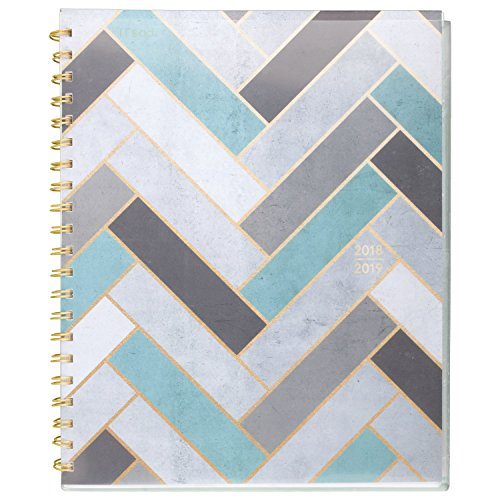 Mead 2018-2019 Academic Year Student Weekly & Monthly Planner, Large, 8-1/2 x 11, Modern Chic, Herringbone (CAW507D3)