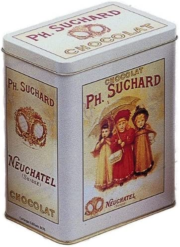 FRANCIA VINTAGE CAJA DECORATIVA METAL 12x8x15cm PUB CHOCOLATE SUCHARD 3 NINAS: Amazon.es: Hogar