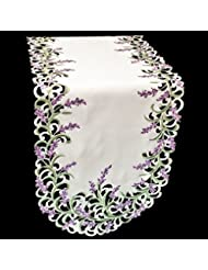 Embroidered Purple Embroidered Lavender Lilac Table Runner Or Dresser Scarf  16u2033 X 43u2033