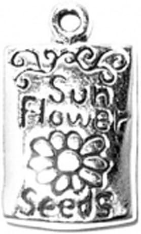 STERLING SILVER GARDEN SUNFLOWER CHARM W//ONE SPLIT RING