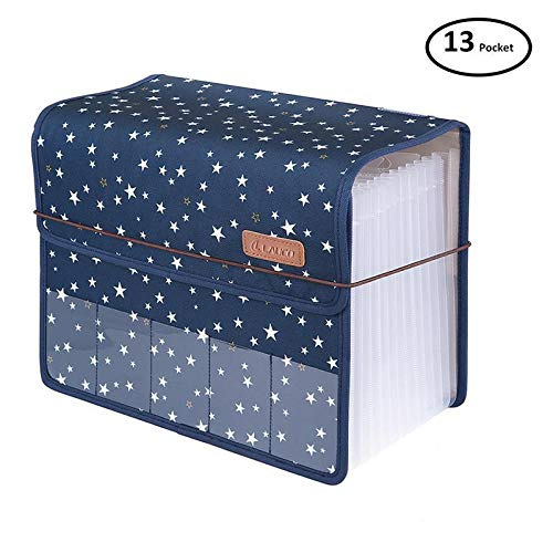(JIEQI Expanding Files Folder A4 Accordion Organizers with Cover 13 Pockets, Expander Storage Wallets,Expandable Filing Folders Large Space,Office School Document with Tab for Sheets Paperwork (Blue))