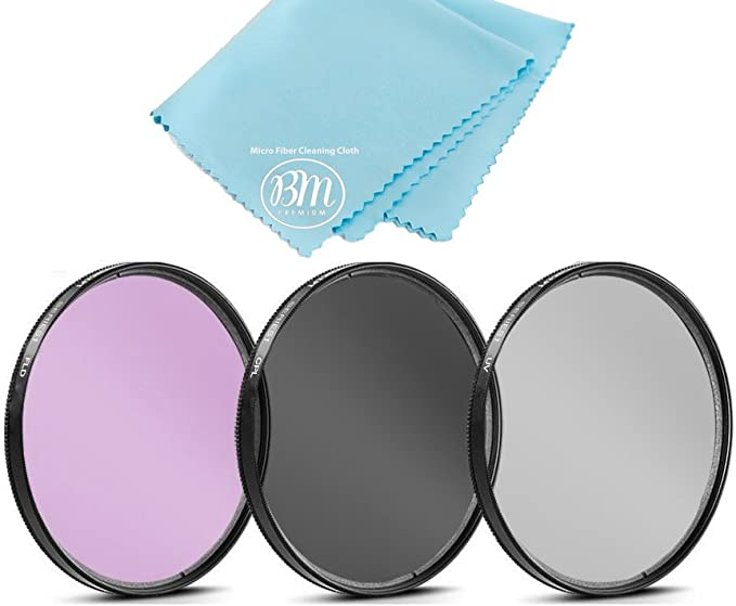 37mm Circular Polarizer Multicoated Glass Filter CPL Microfiber Cleaning Cloth for Canon VIXIA HF M300