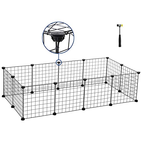 SONGMICS Pet Playpen,Upgrade Customizable Animal Fence, Metal Wire Pen Fence for Small Animals,Bunny, Rabbit, Puppy & Guinea Pigs, Includes Rubber Mallet for Indoor Use ULPI01H by SONGMICS