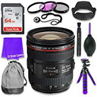Canon EF 24–70mm f/4L IS USM Lens for Canon DSLR Cameras & SanDisk 64GB Class 10 Memory Card + Complete Accessory Kit (11 Items)