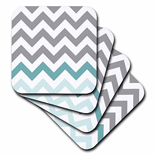 3dRose cst_179811_3 Grey Chevron with Mint Turquoise Zig Zag Accent Gray Zigzag Pattern-Ceramic Tile Coasters, Set of 4
