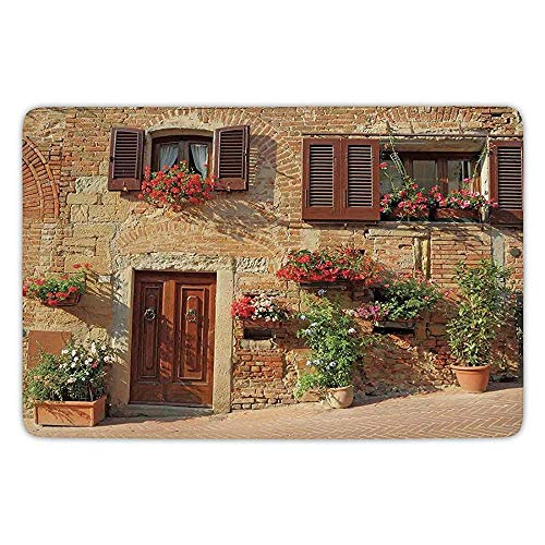 Ruandian Bathroom Bath Rug Kitchen Floor Mat Carpet,Tuscan,Picturesque Lane with Mediterranean Architecture Flowers Italian Town,Brown Light and Brown,Flannel Microfiber Non-Slip Soft Absorbent