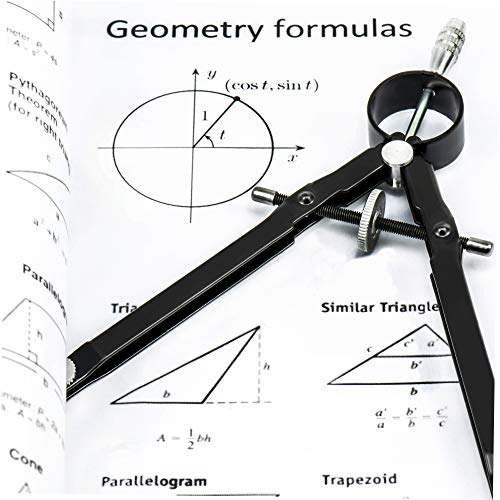 Professional Bow Compass for Geometry - Makes Circles Up to 10 Inch Diameter - Top Quality Metal Drawing Compass with Extra Lead Refills - Perfect Math Compass for School