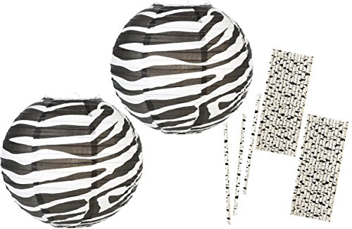 Outside the Box Papers 14 Inch Zebra Print Paper Lanterns and Paper Drinking Straws- 2 Pk of Lanterns 50 (Safari Paper Lanterns)