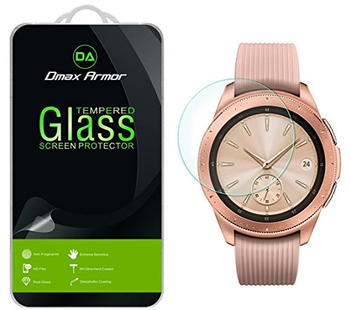 [2-Pack] Dmax Armor for Samsung Galaxy Watch (42 mm) Tempered Glass Screen Protector with Lifetime Replacement Warranty
