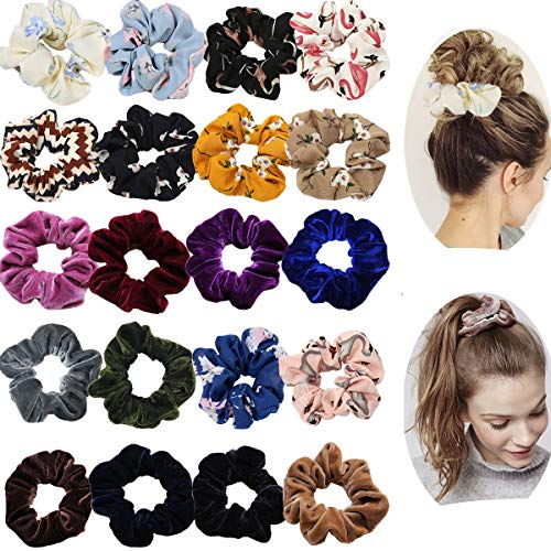 20 Pack Hair Scrunchies Ponytail Holder Elastic Hair Bands Hair Ties for Women Girls Teens Hair Accessories (10pcs Solid Color Velvet Hair Scrunchies,10pcs Chiffon Flower Hair -