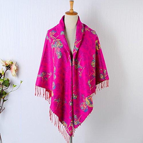 (FLYRCX Autumn and Winter Thick Warm Cashmere Imitation Fringed Scarf Women's Multipurpose Shawl 135cmx135cm,A )