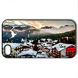 Winter - Case Cover for iPhone 4 and 4s (Houses Series, Watercolor style, Black)