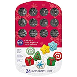 Wilton 2105-6932 Holiday Cookie Mold Pan, 24-Cavity