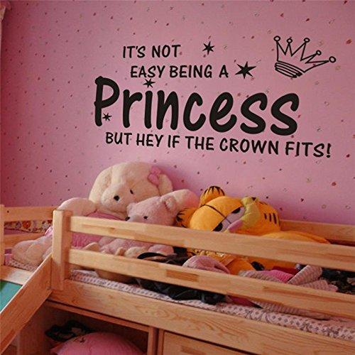 FairyTeller Princess Crown Quotes Wall Stickers Decorations 8135. Diy Home Decals Vinyl Art Room Mural Posters Adesivos De Paredes 4.5