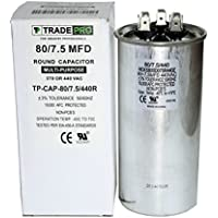 80/7.5 MFD Replaces Both 440 and 370 Volt Round Run Capacitors Dual Capacitor TradePro 80 + 7.5