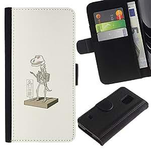 EJOY---Tirón de la caja Cartera de cuero con ranuras para tarjetas / Samsung Galaxy S5 V SM-G900 / --Traje dinosaurio Elm0 divertido