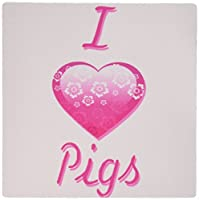 3dRose LLC 8 x 8 x 0.25 Inches Mouse Pad, Pretty Pink Flowery I Love Pigs (mp_121720_1)