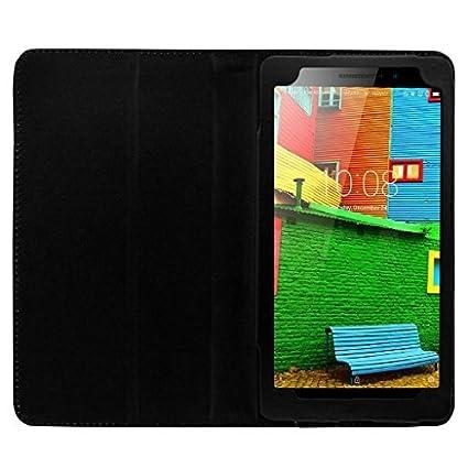 buy online f4da1 09815 Colorcase Leather Flip Cover Case for Lenovo Phab Plus Tablet - Black