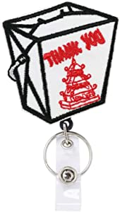 Chinese Food Take-Out Badge Reels Retractable, with Alligator Clip and Key Ring, 24 inches Thick Pull Cord