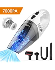 Handheld Vacuums Cleaner Cordless, 7KPa 100W 2600mAh Large Battery, Wet Dry Vacuum Cleaner Rechargeable Portable Cyclonic Suction 30Min, with a Metal HEPA for Pet Hair, Car, House