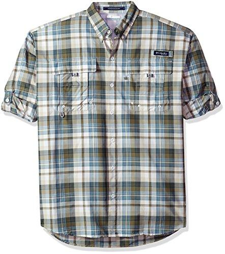 Columbia Mens Super Bahama Long Sleeve Shirt, Sage Plaid, Medium